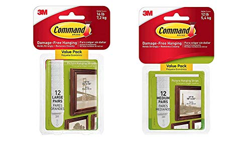 Command Picture MET6 & Frame Hanging Strips Value Pack BLTFQG, 12-Pairs Medium and 12-Pairs Large, White