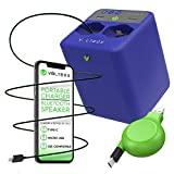 Voltbox 2-in-1 Portable Charger + Bluetooth Speaker w/Built-in 10,400 mAh Power Bank - Fast Charge 4 Devices at Once w/Multi-Port USB, USB-C, iOS Retractable Cables (Blue)