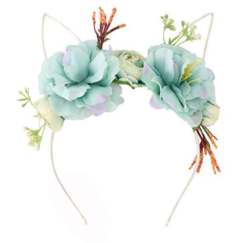 Lurrose Bandeau de Fleur de Pivoine Noël Fleur Cerceau de Cheveux Fleurs Bleu Ciel Casque pour Fille Femmes Maison Bar Décorations de Fête