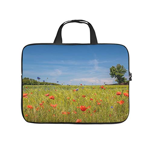 Landscape Grass Field Wheat Flowers Full Print Laptop Sleeve Protective Cover Dustproof Neoprene Laptop Bag Cover Cute Notebook Bag with Handle