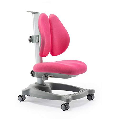 JIEER-C Vrijetijdsstoelen werkstoel voor kinderen Studentische bureaustoelen met dubbele rugleuning correctie van de zithouding Permanent sterk roze
