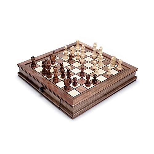 BIAOYU Juego de Ajedrez Juego de ajedrez de Madera magnético Refinado para Adultos y niños con cajones, Juego de Mesa de Madera Universal de Madera para Todas Las Edades Juego de Mesa
