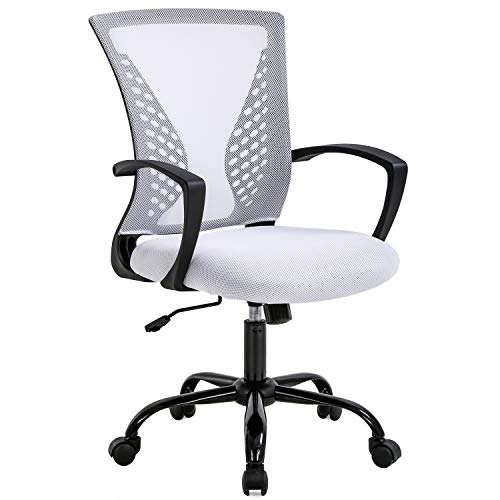 Ergonomic Folding Swivel Chair Office Chair Comfortable Chair with mesh Computer Chair with Back for Waist Chair mesh Office Chair Mesh Chair Armrest, Middle Adjustable Chair on The Back - White