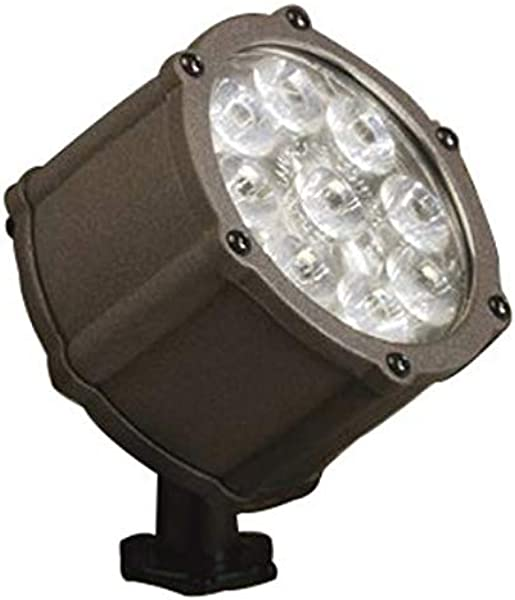 Kichler Lighting 15753AZT LED Accent Light 9 Light Low Voltage 60 Degree Wide Flood Light Textured Architectural Bronze With Clear Tempered Glass
