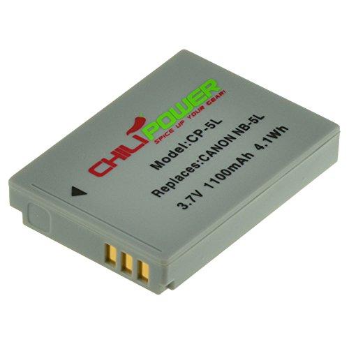 ChiliPower Canon NB-5L Batteria (1100mAh) per Canon Powershot S100, S110, SD700 IS, SD790 IS, SD800 IS, SD850 IS, SD870 IS, SD880 IS, SD890 IS, SD900 IS, SD950 IS, SD970 IS, SD990 IS, SX200 IS, SX210 IS, SX220 IS, SX230 HS