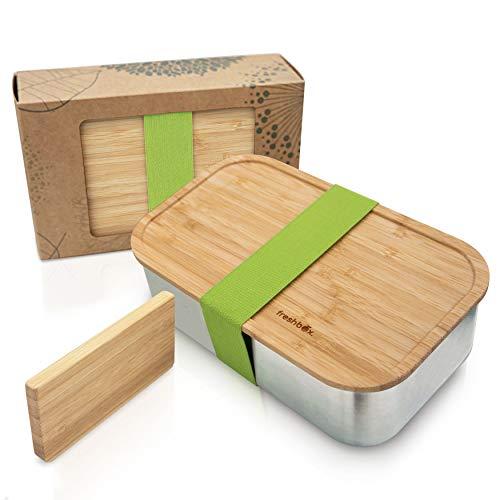 freshbox.® Nachhaltige Brotdose Edelstahl Bambus 1100 ml XL mit Schneidebrett Fächern und Unterteilung, Bento Box, Eco Brotbox, Lunchbox für Kinder und Erwachsene, ohne Plastik, BPA frei