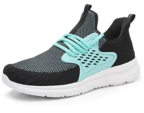 acelyn Women's Athletic Running Shoes - Slip On Sneakers Lightweight Breathable Mesh Walking Running Shoes for Tennis Gym Travel US 8 Black+Blue