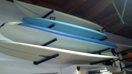 T-Rax Surfboard Wall Rack 1 Heavy Duty Solid 6061 Billet Aluminum Construction. T-Rax are extremely strong and come with a Lifetime Guarantee! And made in the U.S.A All Stainless Steel Hardware included as well as full easy to use instructions.