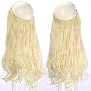 SARLA Halo Hair Extension Secret Invisiable Flip Hidden Wire Crown Natural Curly Long Synthetic Hairpiece For Women Japan Heat Temperature Fiber 18″ 4.4oz M01