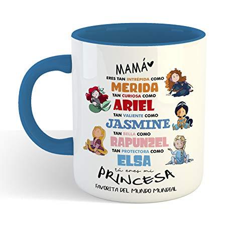 Taza Princesas Disney 2 DIA DE LA MADRE - Taza cerámica 350ml - Frase Divertida Regalos Originales para mama dia de la madre o cumpleaños (Azul)