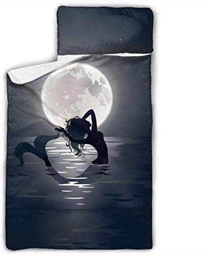 Mermaid in The Moonlight Kids Toddler Nap Mat with Pillow - Includes Pillow & Fleece Blanket for Boys and Girls Napping at Daycare, Preschool, Or Kindergarten