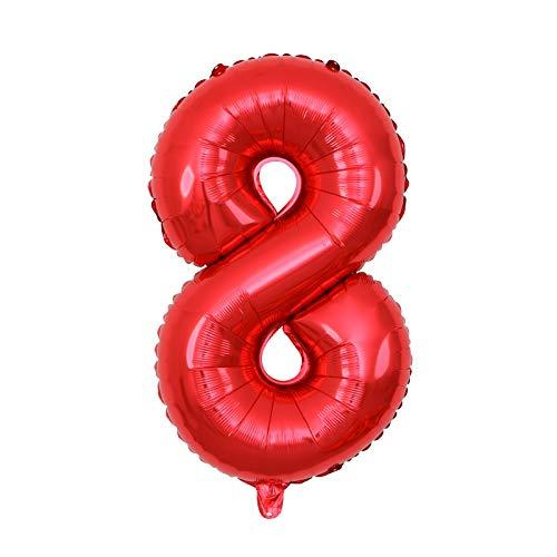 Rojo Globo Número 0-9, Gigante Numeros 0-9, Globos de Decoracion Cumpleaños 1 Años, Globos Grandes Gigantes Helio, Grande Globos para La Boda Aniversario, Globo de Cumpleaños Fiesta Decoración (8)