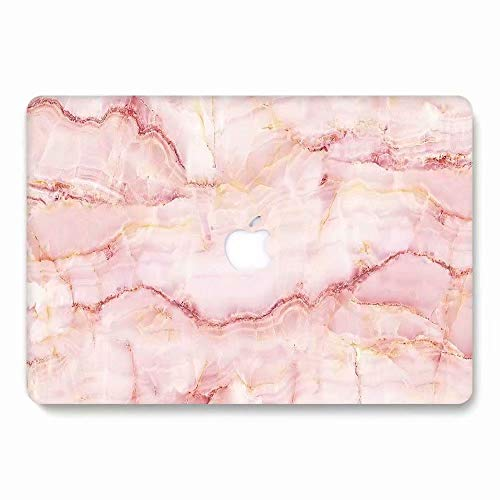 MacBook Air Case, AQYLQ Marble Pattern Rubber Coated Plastic Protective Cover Hard Case for Apple Laptop MacBook Air 13 inch Model A1369 / A1466 - Pink Marble