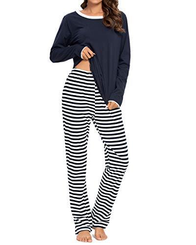 Schlafanzug für Frauen, 100% Baumwolle, langärmelig, Damen-Pyjama-Set, bequem,...