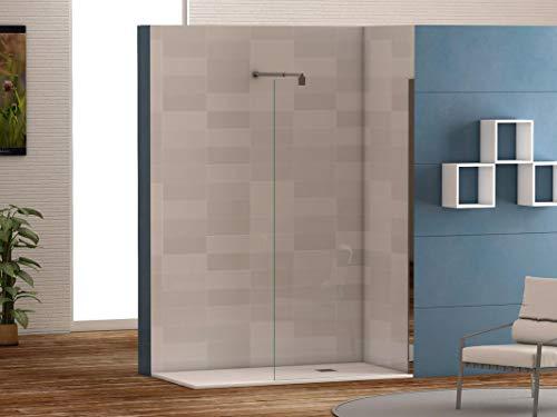 Mampara de ducha frontal panel fijo con cristal transparente templado de seguridad de 6mm modelo Bricodomo Cadiz ANCHO 70 (Adaptable de 68 a 70cm)