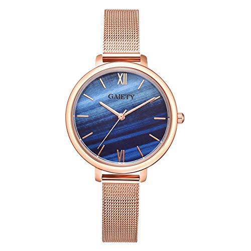 Relógio de pulso feminino de quartzo analógico com alça de malha gradiente e mostrador redondo Heaven2017