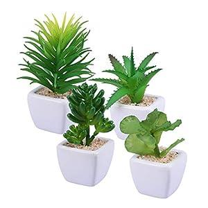 Z.L.FFLZ Artificial Plants Artificial Plant Decorative Faux Succulent Artificial Succulent Fake False Simulation Plants with White Ceramic Pots Artificial Potted