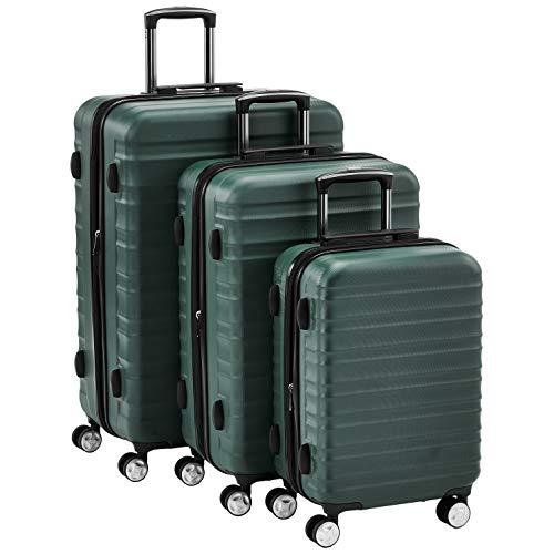 Amazon Basics - Juego de 3 maletas rígidas giratorias prémium (55 cm, 68 cm, 78 cm), verde