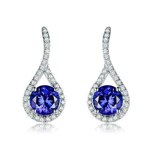 Adisaer Earring Gold 18K,Earring for Women Fashion Water Drop White Gold Earring Women 18K White Gold Dangle Earrings 2.64 CT Tanzanite and 0.48 CT Diamond