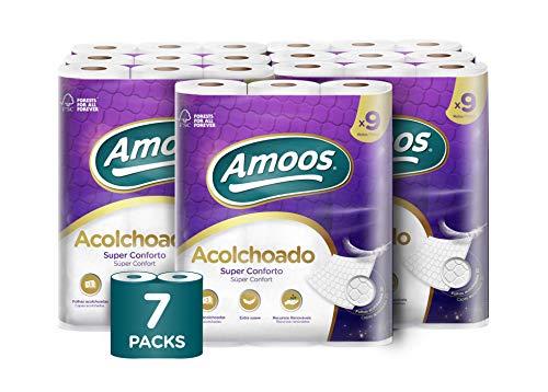 Amoos Papel Higiénico Acolchado Rolos, Blanco, 860 G, 63 Unidad