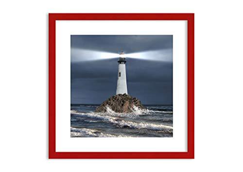 Imagen en un Marco de Madera de Color Rojo - Imagen en un Marco - Cuadro sobre Lienzo - Impresión en Lienzo - 50x50cm - Foto número 3550 - Listo para Colgar - en un Marco - F1RAC50x50-3550