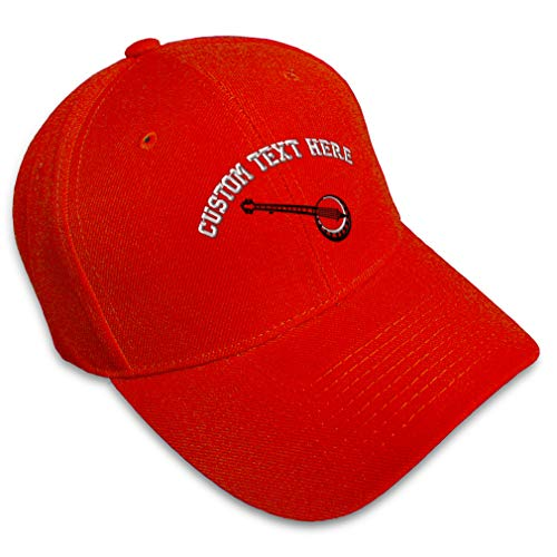 Custom Baseball Cap Music Instrument Banjo Embroidery Dance & General Acrylic Hats for Men Women Strap Closure Red Personalized Text Here