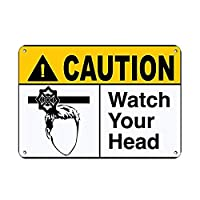 注意あなたの頭の危険サインを見る 金属板ブリキ看板警告サイン注意サイン表示パネル情報サイン金属安全サイン