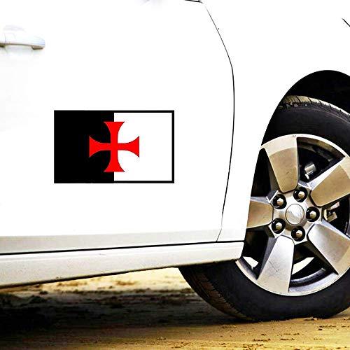 Personalidad Creativa Etiqueta engomada del coche Cruz Templarios Caballeros Escudo Protector solar Calcomanía Accesorios, 13cm * 8cm