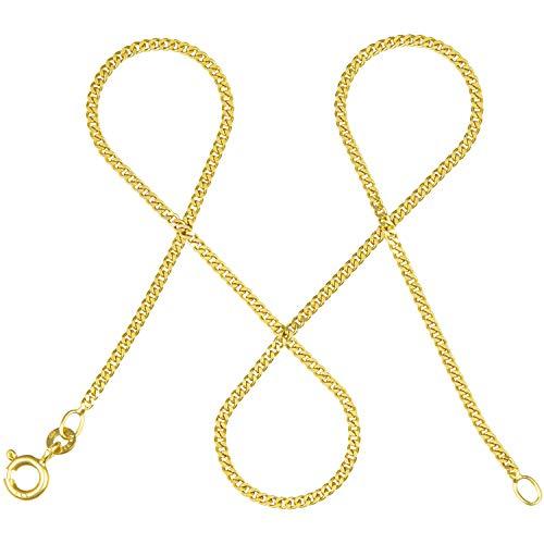 modabilé Damen Panzerkette Flach aus 333er Gold (80cm I 1,7mm breit) I Goldkette 333 ohne Anhänger I Zarte Halskette für Frauen I Echtgold Kette + Etui I Goldkettchen Produziert in Deutschland