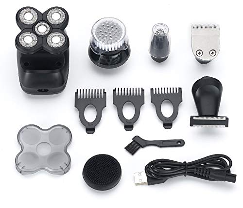 TBRAND Electric Shaver for Men, 6-in-1 Bald Head Shaver Grooming Kit Cordless and USB Rechargeable Wet Dry 5 Head 5D Rotary Shaver with Clippers Nose Hair Trimmer Facial Cleaning Brush Best Men Gift