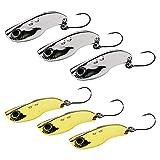 6 Stück Fishing Forellen Spoon Set, NALCY Forellenköder Set Zum Forellen Angeln UV Spoons Forellen Köder Forellen Set Spoon Forelle, Spoons Forelle