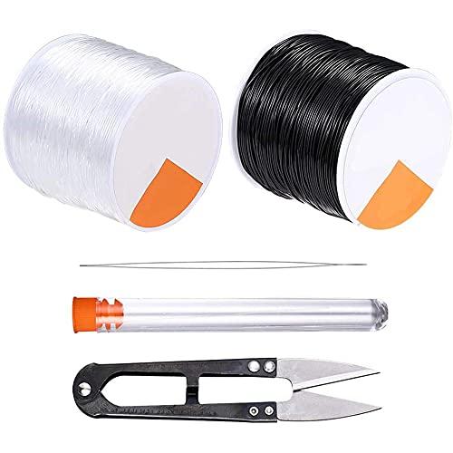 iSinofc 2 bobinas de 0,8 mm de hilo elástico de goma, 50 m de hilo transparente y 50 m de color negro, hilo de joyería para joyería de perlas
