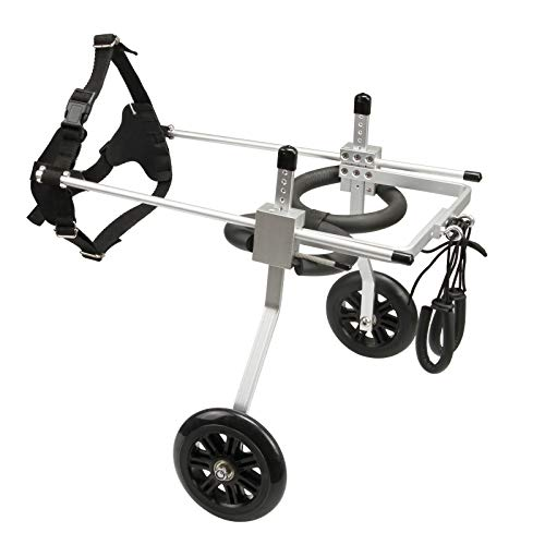 anmas sports Adjustable Dog Wheelchair Dog Cat Cart Wheels Three Sizes for Hind Legs Rehabilitation (Small)