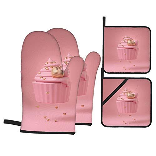 Juego de 4 Guantes y Porta ollas para Horno Resistentes al Calor Pastel de Copa Rosa con Franjas de Lujo en Oro para Hornear en la Cocina,microondas,Barbacoa