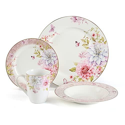 Kuty, Série ressort . Service de Table Complet en Porcelaine 16 pièces pour 4 Personnes . Assiette À Dessert,Assiette À Dîner,tasses,Assiette Creuse.