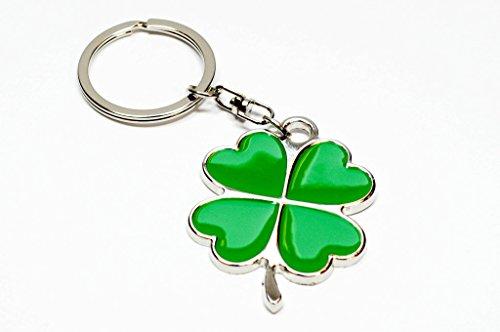 Familienkalender 4 blättriges Kleeblatt Klee Schlüsselanhänger 4cm Metall Glück | Geschenk | Gras | Damen | Glücksbringer | grün