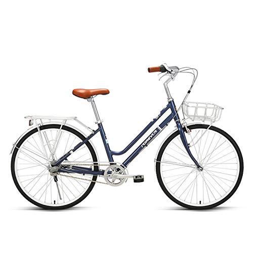 JKCKHA Ruedas De 26 Pulgadas Bicicleta Urbana Clásica, Clásica Tradicional Bicicleta Estilo De Vida para Damas Y Canasta Cuadro Tradicional De Estilo Holandés De 17 Pulgadas