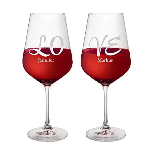 AMAVEL Set 2 Calici da Vino Rosso con Incisione Elegante Love Personalizzata con Nomi, Bicchieri in Vetro, Regali Romantici per Coppie, ca. 644 ml