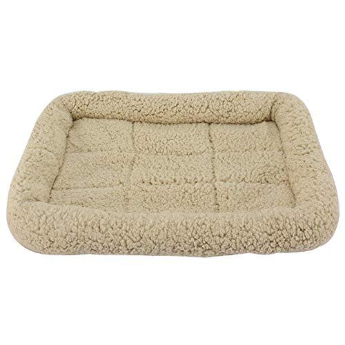 Cama para Perros de Felpa Suave y cálida Cama para Perros Cama para Dormir mullida sofá para Mascotas Perros pequeños y medianos de Varios tamaños -Algodón Beige_M-46 * 34