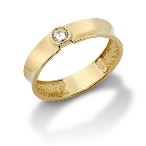 Miore MA74RYP - Anillo de mujer de oro amarillo (14k) con 1 diamante (talla: 16)