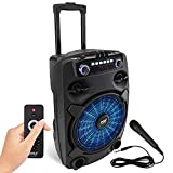 """Portable Bluetooth PA Speaker System - 800W 12"""" Outdoor Bluetooth Speaker Portable PA System - Party Lights, USB SD Card Reader, FM Radio, Rolling Wheels - Wired Microphone, Remote - Pyle PPHP127B"""
