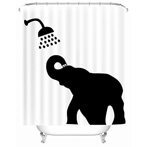 X-Labor Lustig Tier Schatten Duschvorhang 240x200cm Wasserdicht Anti-Schimmel Polyester Textil Stoff Badewannevorhang Shower Curtain Elefant 240x200cm