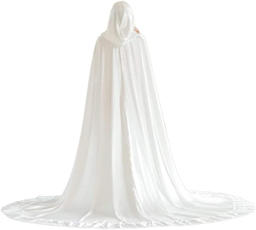 Wedding Cathedral Cape Hooded Lace Edge 期間限定送料無料 with Long for Train Brid 全品最安値に挑戦