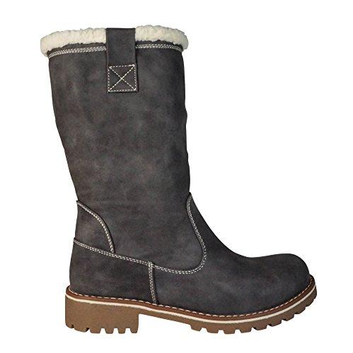 Damen Stiefel gefüttert Boots Stiefeletten Outdoor Winter Schnee Biker (36, ST552 Grau)