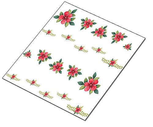 AWS Lot de 20 autocollants pour décoration de French Red Flowers French Rouge, feuilles vertes, vert