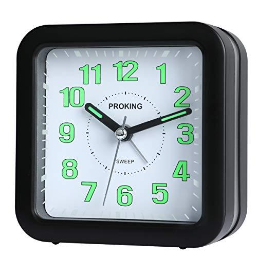 Analog Wecker,Stille Nicht Tickende Reise Wecker Display Batteriebetriebene Nachttisch Uhr Snooze...