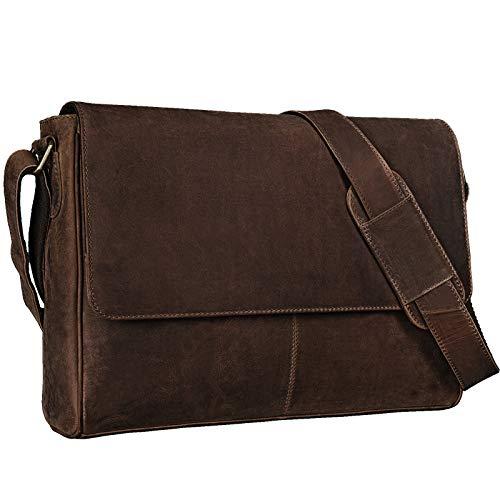 STILORD 'Oskar' Umhängetasche Laptoptasche 15 Zoll aus echtem Leder Messenger Bag Business Vintage Look, Farbe:dunkel - braun