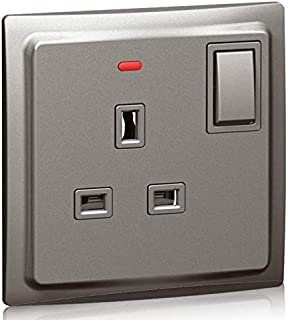 Double pole socket outlet Mallia - switched + LED - 1 gang - 13 A 250 V - dark silver