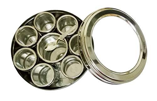Sahishnu Online And Marketing Stainless Steel Transparent Masala Box/Spice Box/Masala Dabba/Spice Container - Set of 9pcs