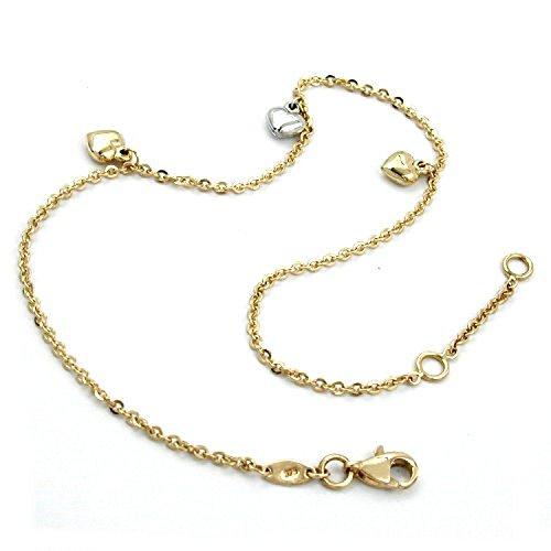 Latotsa 9 karat 375 Gelbgold Gold Fußkette Fußkettchen Kette Ankerkette Anker Goldkette mit Herzen Anhänger Schmuck 25cm